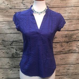 H & M Split Neck Cap Sleeve Short Sleeve Top Sz 8